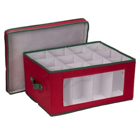 Household Essentials Holiday China Storage Chest for Wine and Balloon-Style Glasses, Red Canvas w/Green Trim