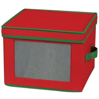 Household Essentials Holiday China Storage Chest for Dinner Plates, Red Canvas w/Green Trim