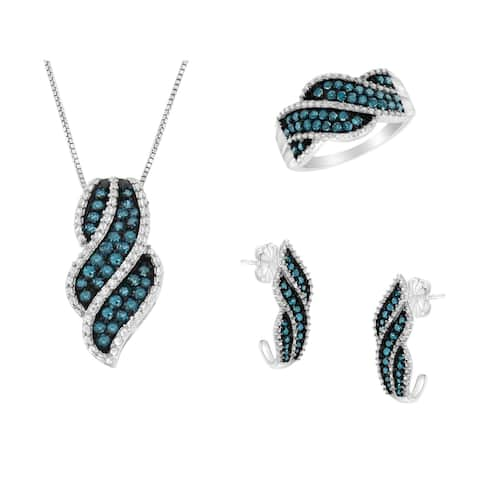 Sterling Silver and Treated Blue Diamond Jewelry Set: Ring, Pendant Necklace, and Earrings (Blue, I1-I2)