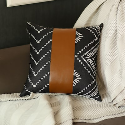 The Curated Nomad Baywood 17x17 Black/Brown Faux Leather Pillow Cover