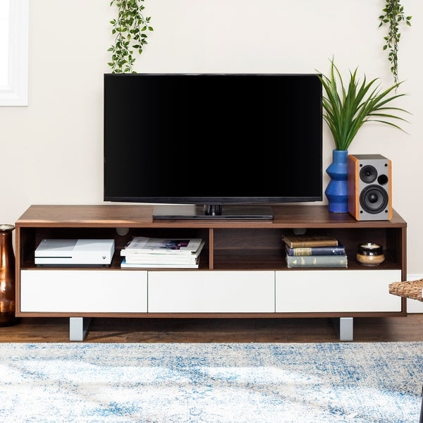 """Carson Carrington 60"""" Modern 3-Drawer Low TV Console. Opens flyout."""