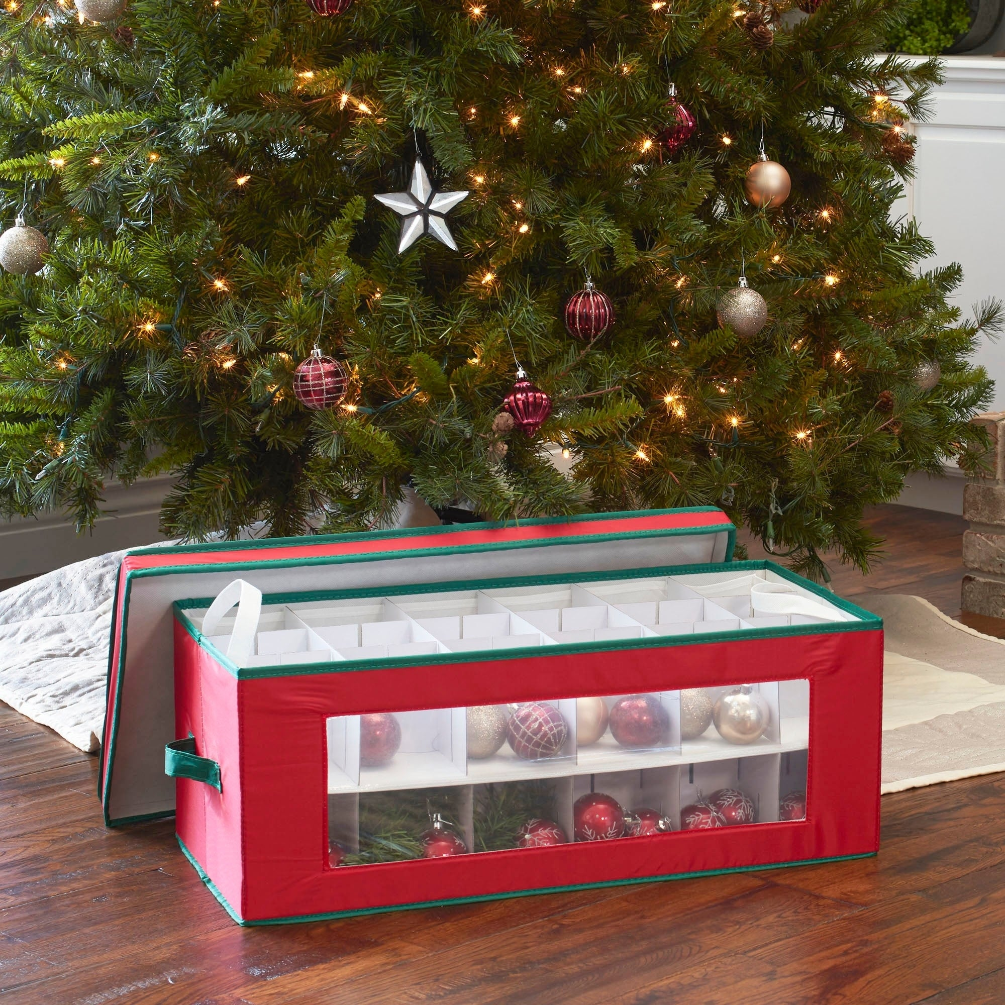 Large Christmas Ornaments.Household Essentials Large Christmas Tree Ornament Storage Box For 36 Xmas Ornaments Red Bin W Green Trim