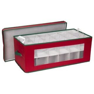 Household Essentials Large Christmas Tree Ornament Storage Box for 36 Xmas Ornaments, Red Bin w/Green Trim