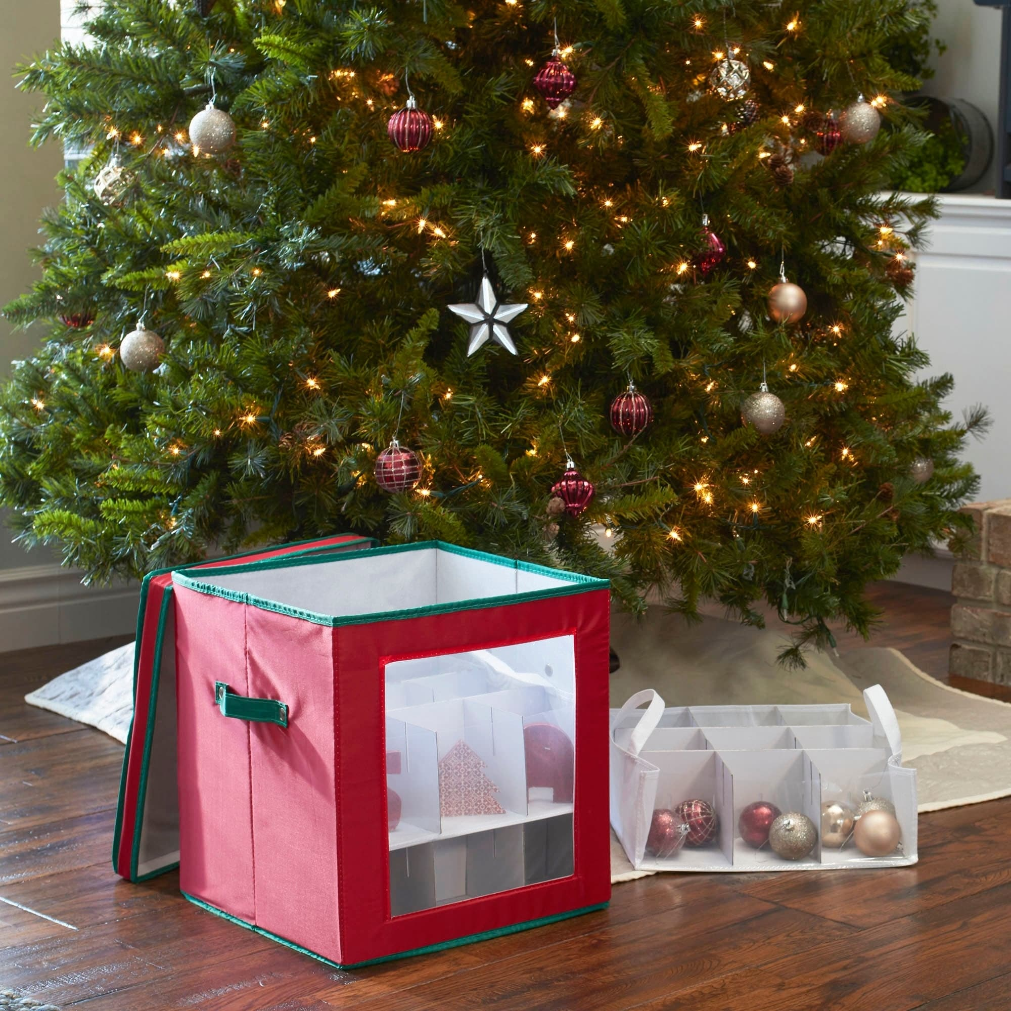 Christmas Ornament Storage.Household Essentials Medium Christmas Tree Ornament Storage Box For 27 Xmas Ornaments Red Bin W Green Trim