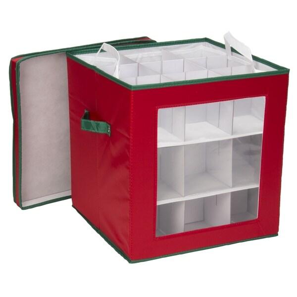 Household Essentials Medium Christmas Tree Ornament Storage Box for 27 Xmas Ornaments, Red Bin w/Green Trim