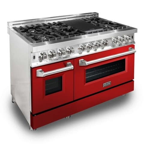 "ZLINE 48"" Dual Fuel Range with Red Gloss Door (RA-RG-48)"