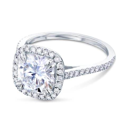 Annello by Kobelli 14k Gold 2ct Cushion Forever One Moissanite and 1/3ct TDW Lab Grown Diamond Halo Engagement Ring (DEF/VS)