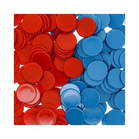 """250 pcs Plastic Counters, Kids Math Manipulatives Counting Chips, Red & Blue, 1"""""""
