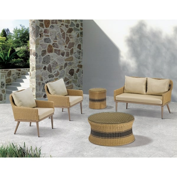 Madison Park Panorama Natural Outdoor Patio End Table