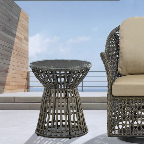 Madison Park Hailey Bronze Wicker Outdoor Accent Table