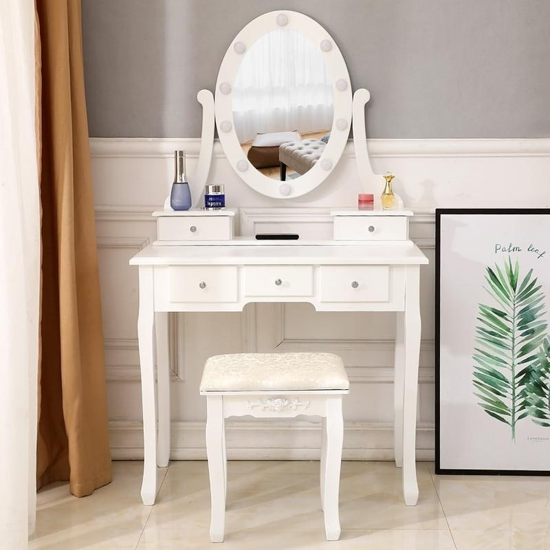 Excellent Fch With Light Bulb Single Mirror 5 Drawer Dressing Table White Pabps2019 Chair Design Images Pabps2019Com