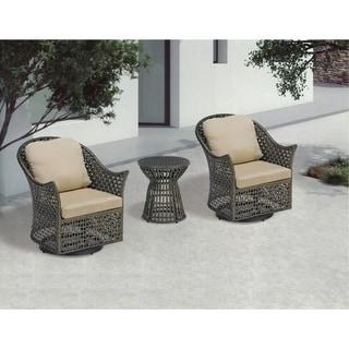Madison Park Noella Dark Brown Wicker Outdoor Swivel Lounge Chair