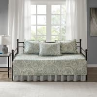 Comfort Spaces Noami Blue/Grey 5 Piece Reversible Daybed Cover Set
