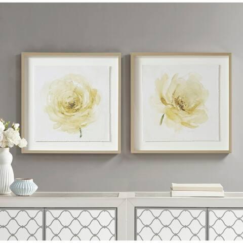 Madison Park Signature Ivory Ladies Rose Glass Framed Rose Graphic Single Floating Mat 2 Piece Set