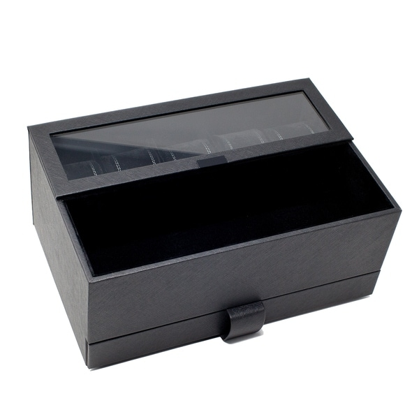 Caddy Bay Collection Black Watch Box with Watch Band Case - N/A