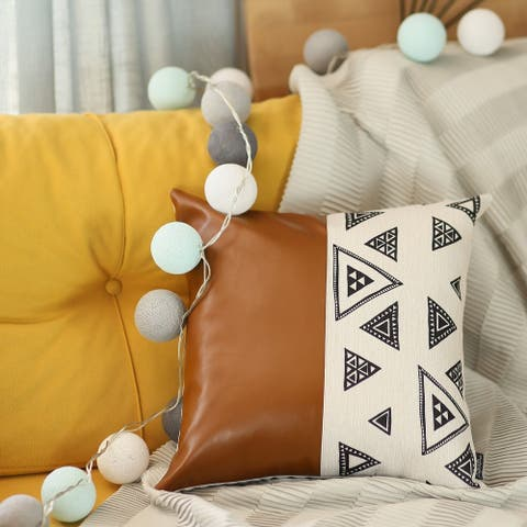 The Curated Nomad Baywood 17x17 Decorative Faux Leather Pillow Cover