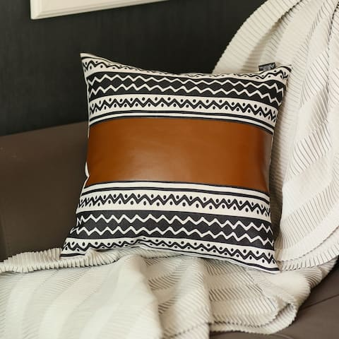 The Curated Nomad Baywood 17x17 Faux Leather Stripe Pillow Cover