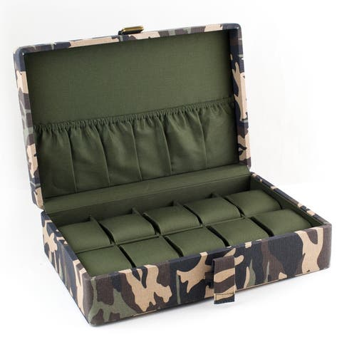 Caddy Bay Collection Camo Military Watch Box - N/A