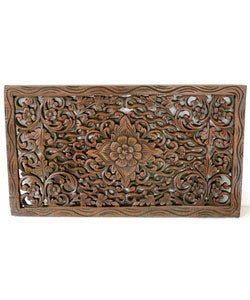 Handmade Reclaimed Teak Wood Lotus Carving (Thailand)
