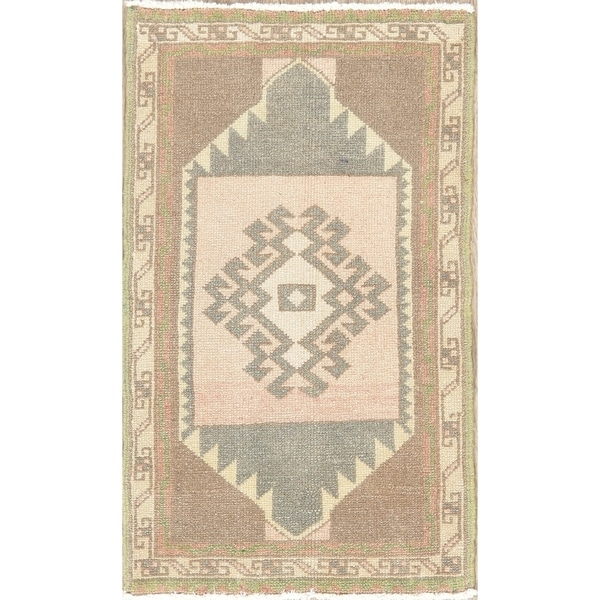 Oriental Vintage Tribal Traditional Hand Knotted Turkish Area Rug - 2'7''x 1'6''
