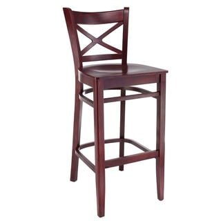 Solid Beechwood Cross-back Barstool in Dark Mahogany (As Is Item)