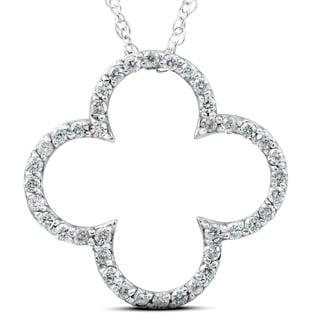 3 8 Ct Diamond Clover Designer Pendant 14k White Gold