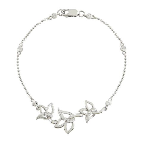 """MARC Sterling Silver Floral Bracelet with White CZ accent 7.5"""""""