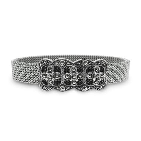 "MARC Sterling Silver Oriental Stretch Mesh Bracelet 6.5"""