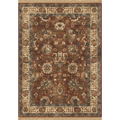 """Orian Marrakesh Persian Varse Claret Area Rug with firnge - 5'3"""" x 7'6"""""""