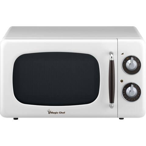 Magic Chef 0.7-Cu. Ft. 700W Retro Countertop Microwave Oven in White