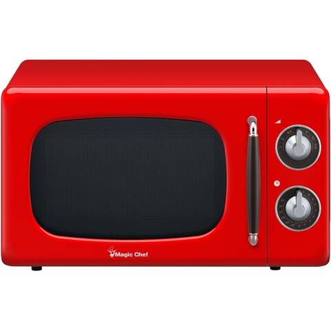 Magic Chef 0.7-Cu. Ft. 700W Retro Countertop Microwave Oven in Red