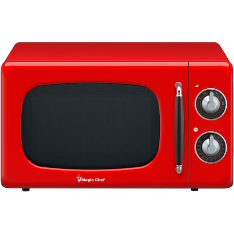 Magic Chef 0.7-Cu. Ft. 700W Retro Countertop Microwave Oven in Red