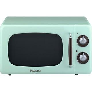 Magic Chef 0.7-Cu. Ft. 700W Retro Countertop Microwave Oven in Mint Green