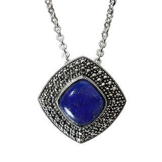 MARC Sterling Silver Lapis And Marcasite Pendant 18