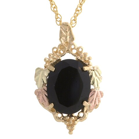 Black Hills Gold Pendant with Faceted Onyx Necklace