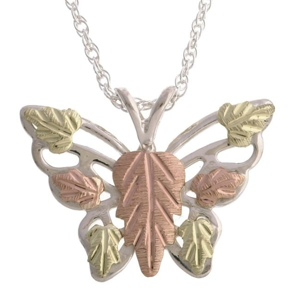 458feffe47fe8 Black Hills Gold and Silver Butterfly Necklace