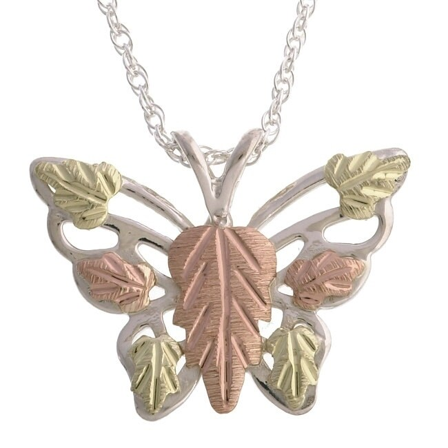 Black Hills Gold and Silver Butterfly Necklace, Women's, ...