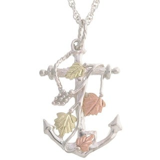 Black Hills Gold and Silver Anchor Pendant Necklace