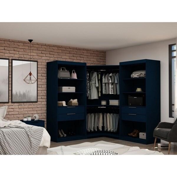 Mulberry Open 3 Sectional Modern 4 Drawer Wardrobe Corner Closet Set of 3