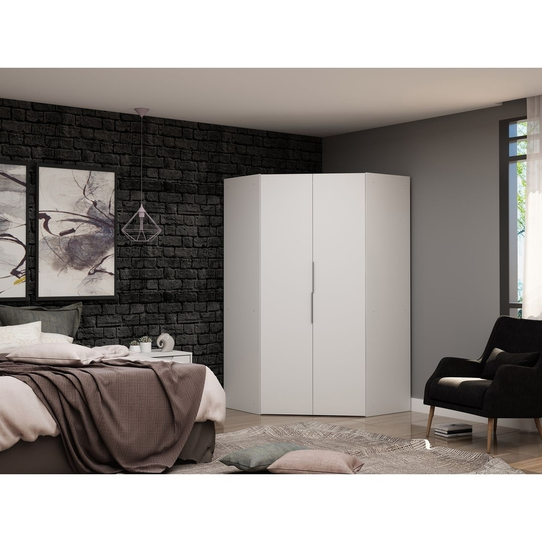 Shop Black Friday Deals On Mulberry 2 0 Modern Corner Wardrobe Closet With 2 Hanging Rods Overstock 28764940