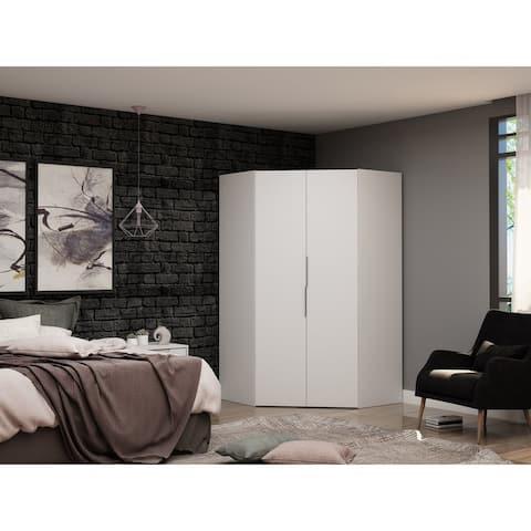Mulberry 2.0 Modern Corner Wardrobe Closet with 2 Hanging Rods