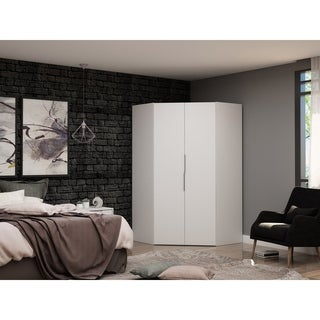 Mulberry 2.0 Modern Corner Wardrobe Closet with 2 Hanging Rods
