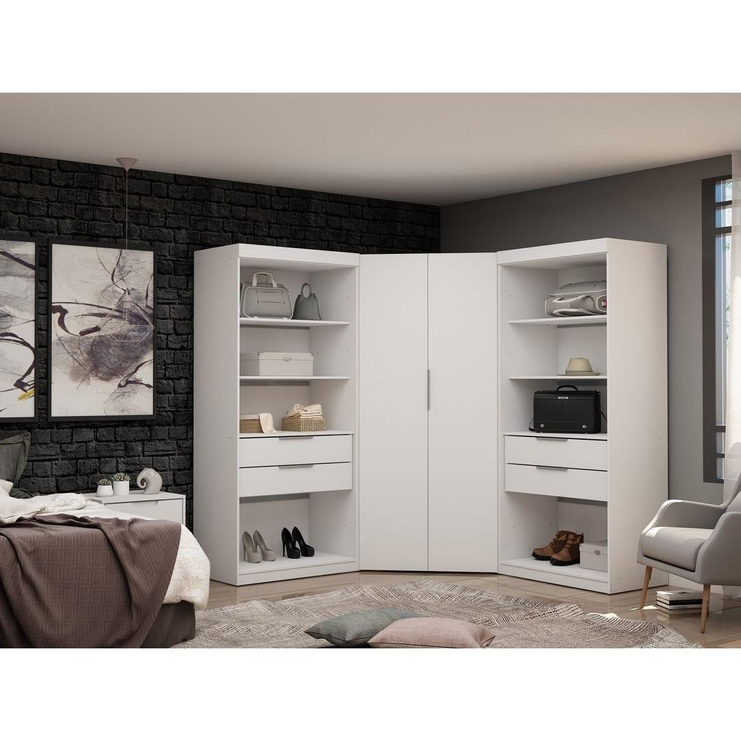 Mulberry 2 0 Semi Open 3 Sectional Modern 4 Drawer Wardrobe Corner Closet Set Of 3 Overstock 28764946