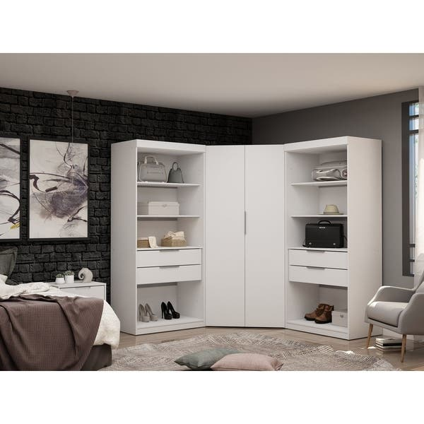 Shop Mulberry 2 0 Semi Open 3 Sectional Modern 4 Drawer Wardrobe Corner Closet Set Of 3 Overstock 28764946 Brown