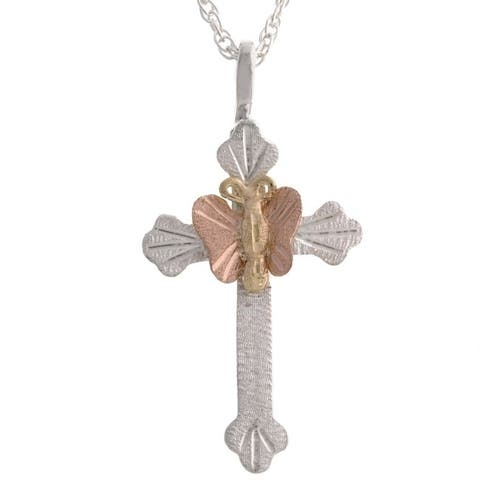 Black Hills Gold Butterfly on Silver Cross Pendant
