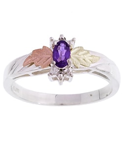 Black Hills Gold and Sterling Silver Amethyst and Diamond Ring