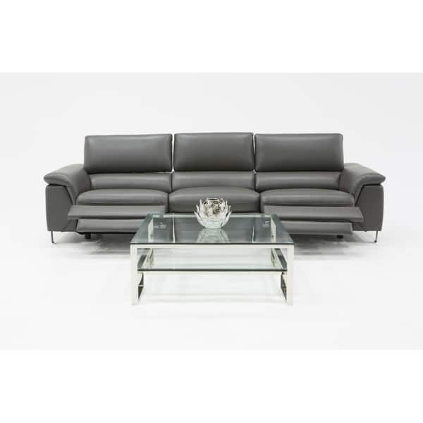 Shop Divani Casa Maine Modern Grey Eco-Leather Sectional ...