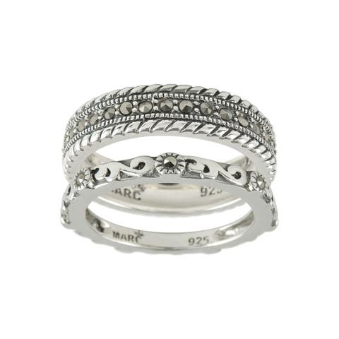 MARC Sterling Silver Marcasite 2-piece Stack Ring size 7