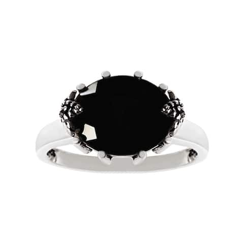MARC Sterling Silver Black Onyx and Marcasite Ring size 7