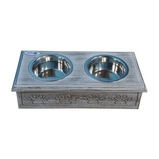Iconic Pet Wooden Pet Double Diner with Stainless Steel Bowls